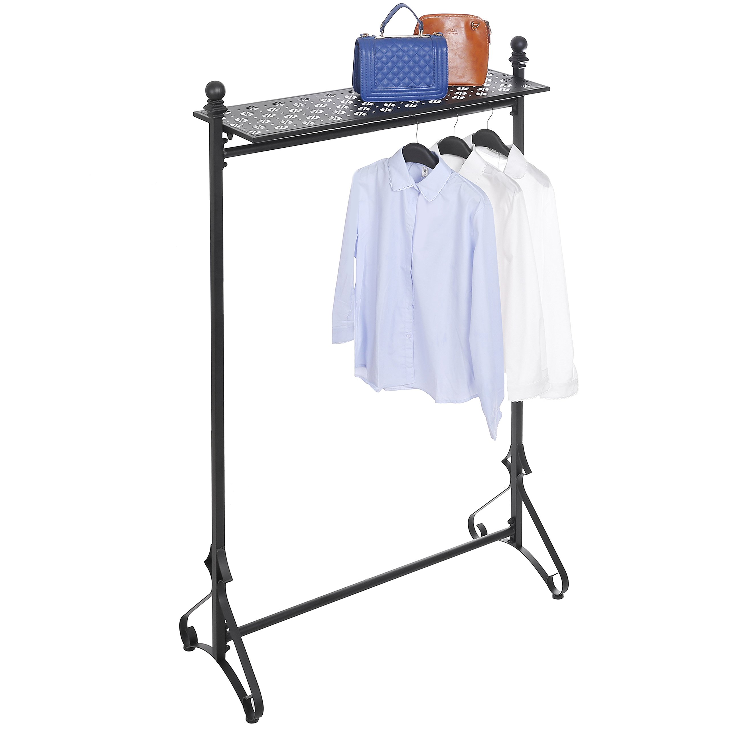 MyGift Deluxe Metal Single Bar Garment Rack with Storage Shelf, Retail Clothing Hanger Display Stand, Black