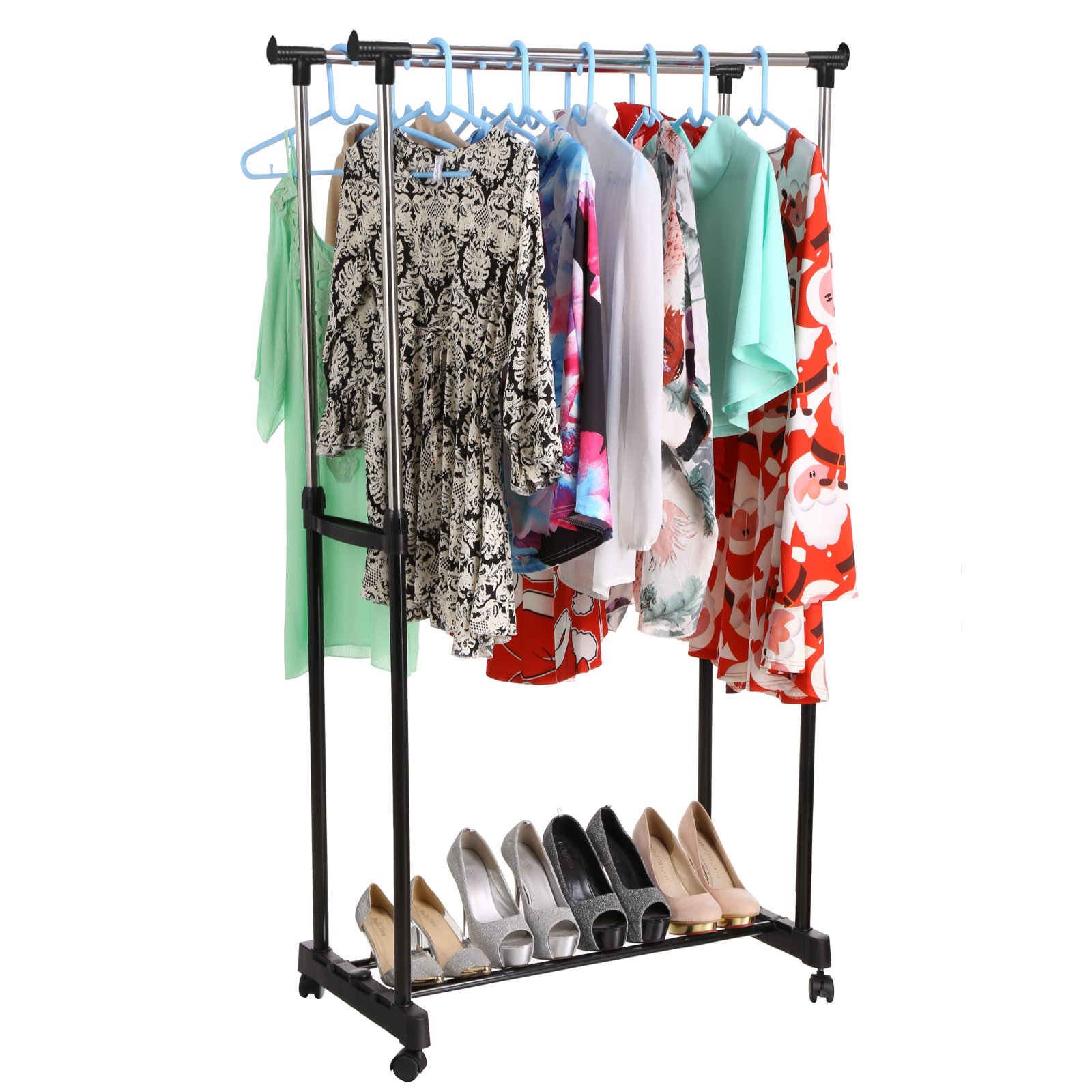 Homdox Clothes Drying Rack, Heavy Duty Double Pole Rail Rod Adjustable Garment Rack Clothing Rack Outdoor Indoor Clothes Rack Hanger, with 4 360 degree wheels(2 with lock)