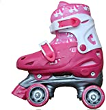 Girls Quad roller skates in pink and white boot