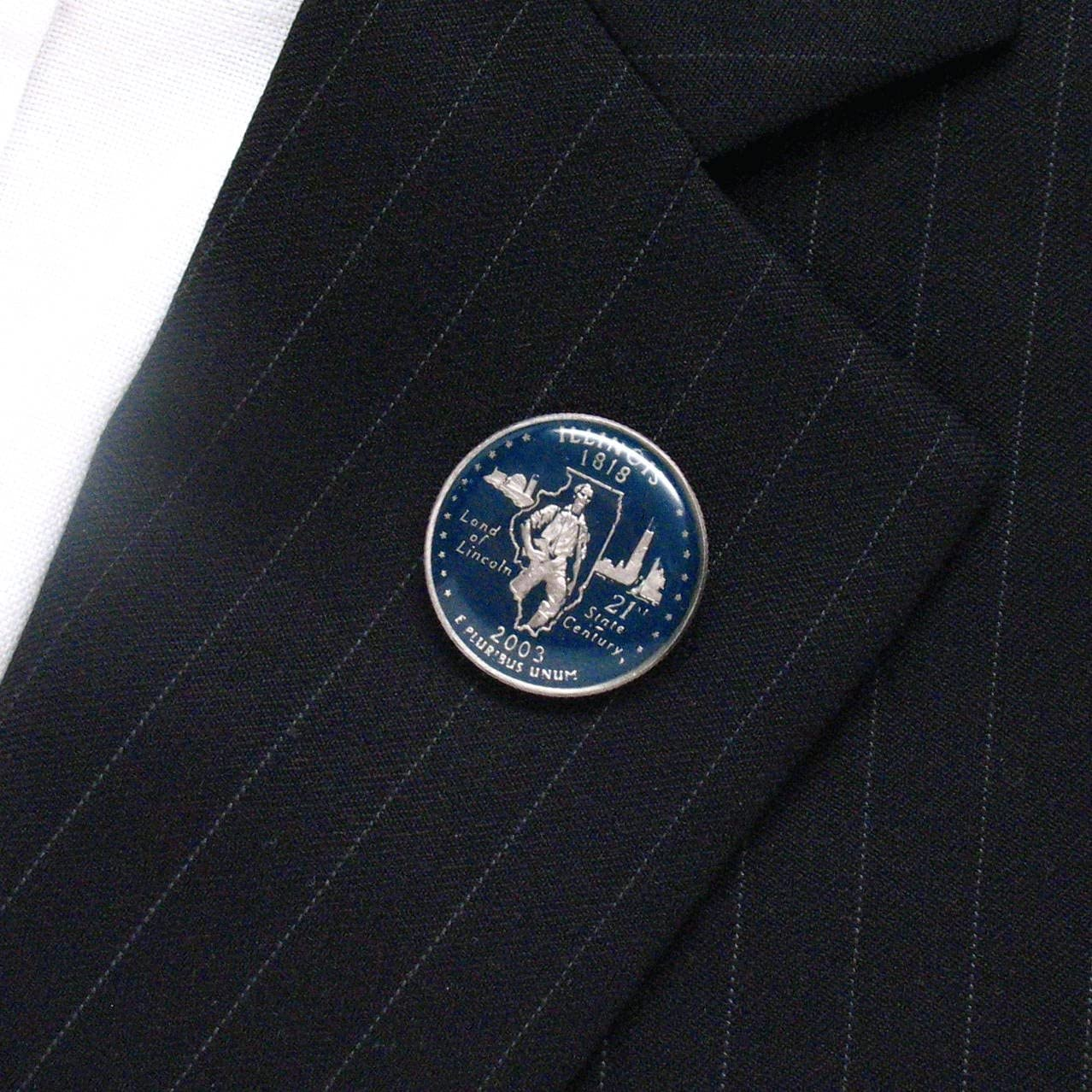 Illinois trimestre Tie Tack Pin de solapa traje bandera Estado ...