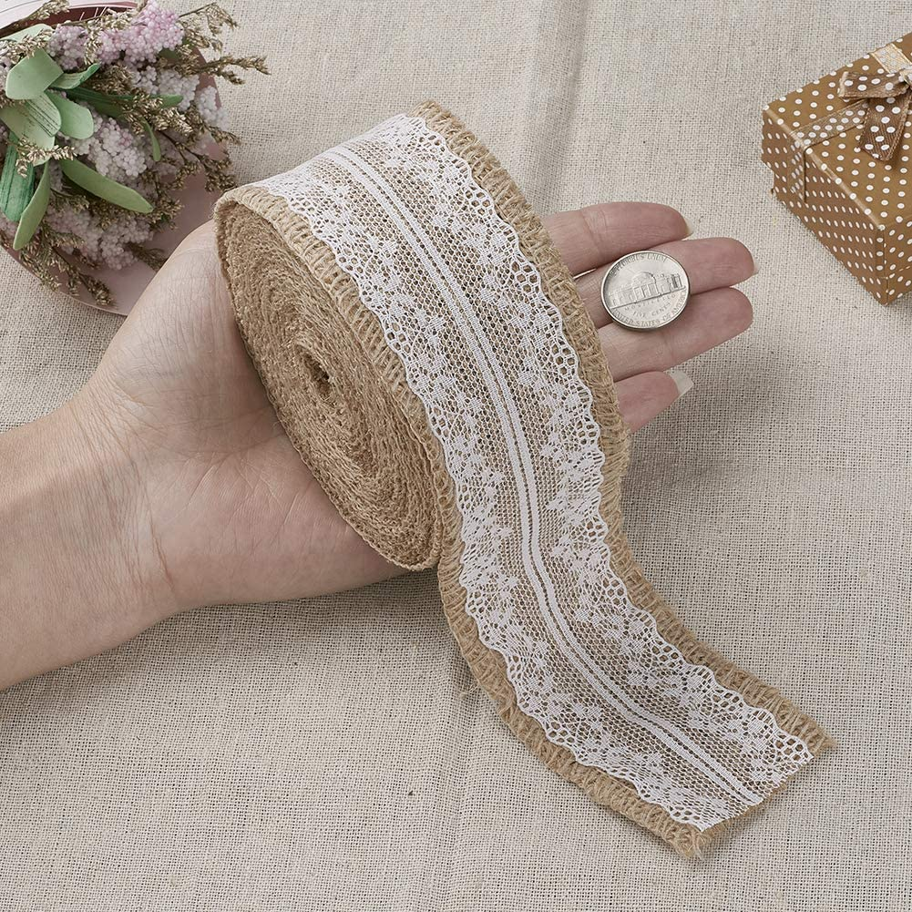 25mm Fashewelry 2 Rolls Natural Burlap Ribbon Roll 1 Wide Total 21.87 Yards Burlap Fabric Craft Ribbon for Home Party Wedding Decoration