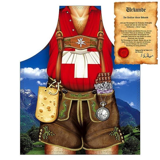 Delantal con certificado – Muñeco de Suiza en piel Pantalón – divertido diseño Delantal como regalo