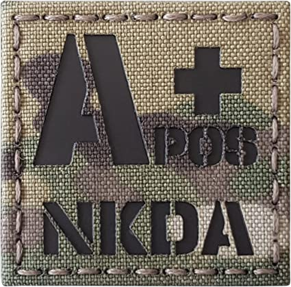 IR mini patch 1x2 blood type AB ABPOS multicam IFF morale tactical