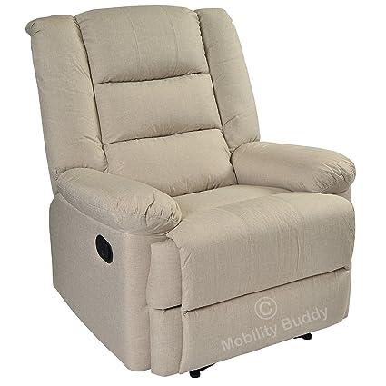 Surprising Capri Light Beige Linen Look Fabric Manual Recliner Chair Alphanode Cool Chair Designs And Ideas Alphanodeonline