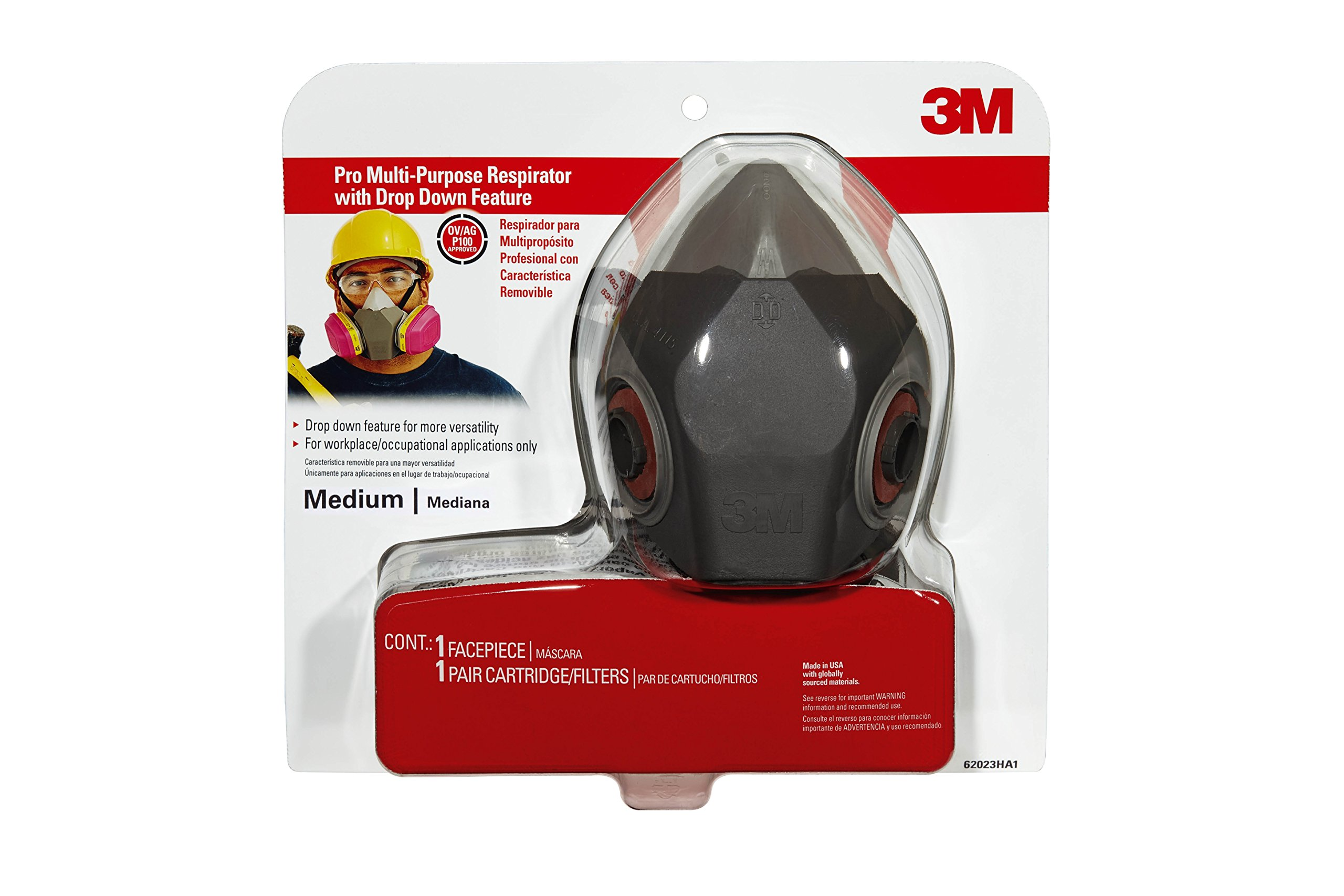 3M 62023DHA1-C Professional Multi-Purpose Drop Down Respirator, Medium by 3M Safety (Image #1)