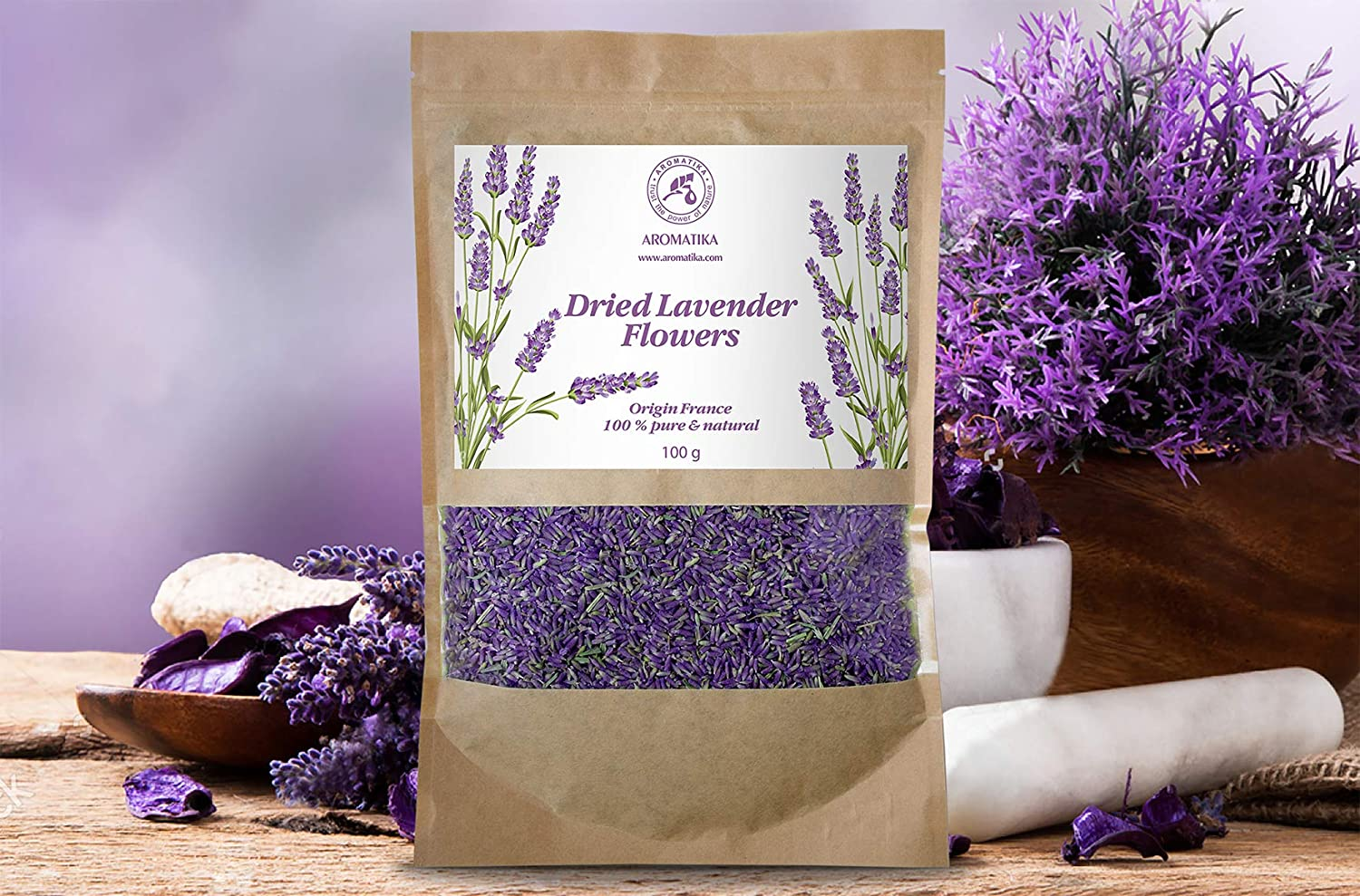 Fragrant Lavender Buds 100 g from French Provence - 100% Pure Natural - Lavanda Flowers - Lavender Blossom - Best Lavender Odor - Dried Lavender Flowers by Aromatika