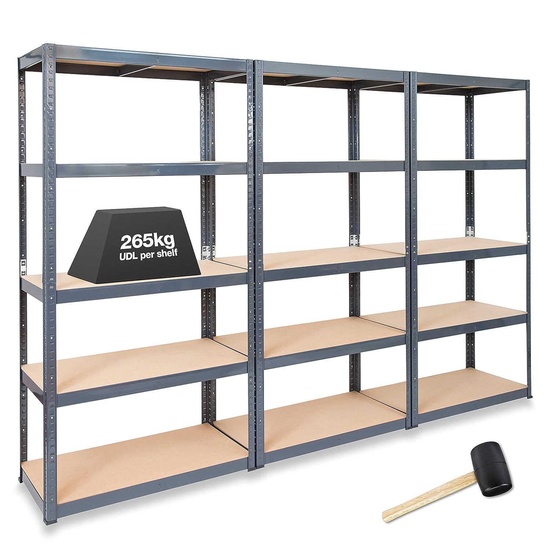 Regalsystem garage  3 x STORALEX® 450 mm tief Regale für Garagen/Regalsysteme 265 kg ...