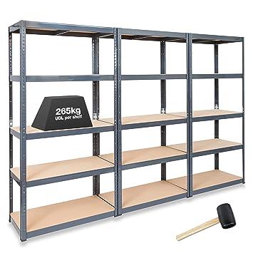 Fabulous 3 x STORALEX® 450 mm tief Regale für Garagen/Regalsysteme 265 kg LW93