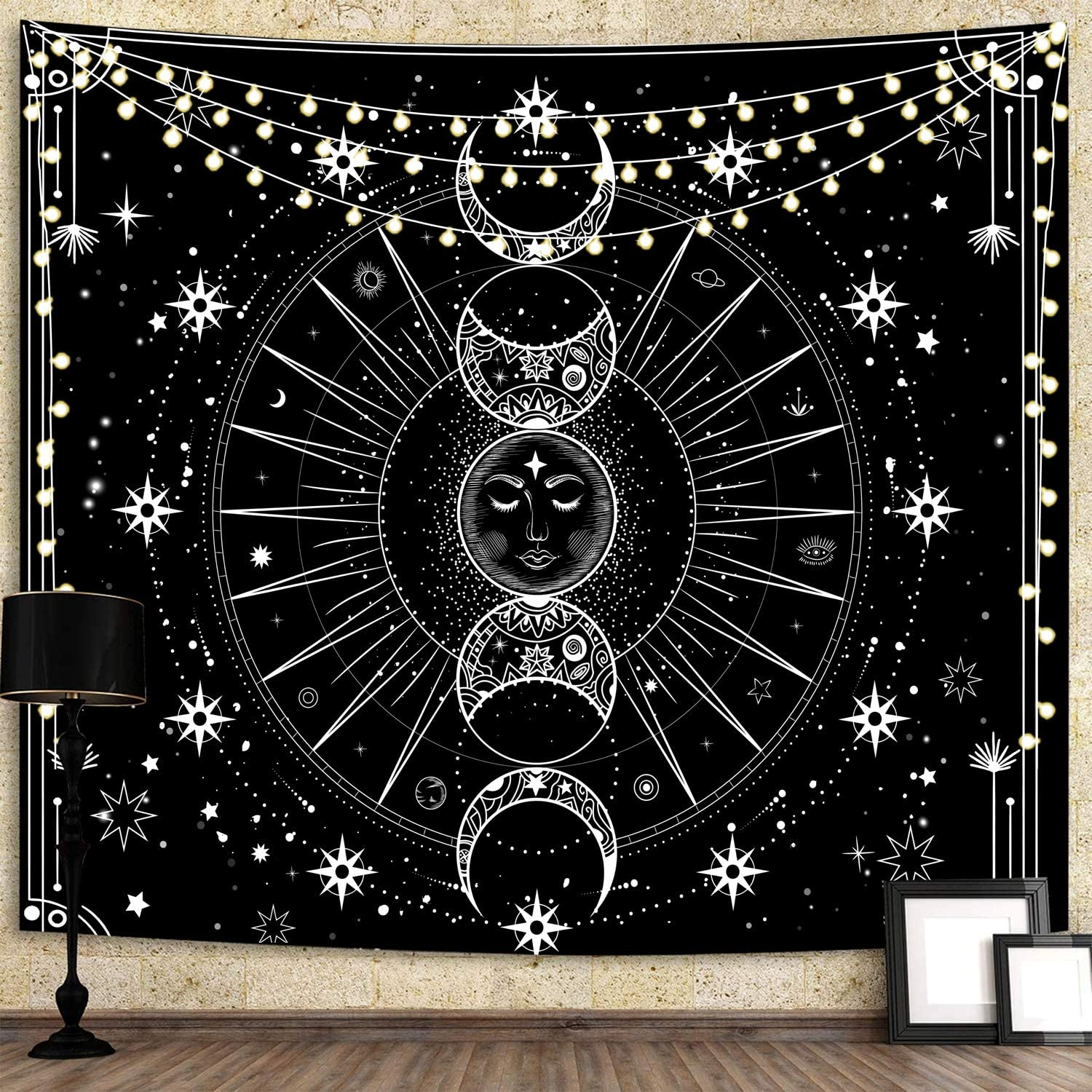Bacazue Sun Moon Tapestry Wall Hanging Sun with Stars Space Psychedelic Black and White Wall Tapestry for Bedroom, Living Room, Dorm Home Wall Decor (29.5