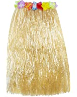 Hawaiian Luau Hibiscus Green String & Colorful Silk Faux Flowers Hula Grass Skirt for Costume Party, Events, Birthdays, Celebration (1 Count) by Super Z Outlet® (Brown)