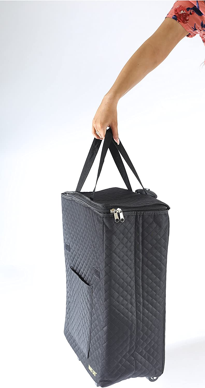Black Premium Quilted Cart Weekender Bag Carry-on dbest products Smart  Cart Shopper Tote Travelux Series