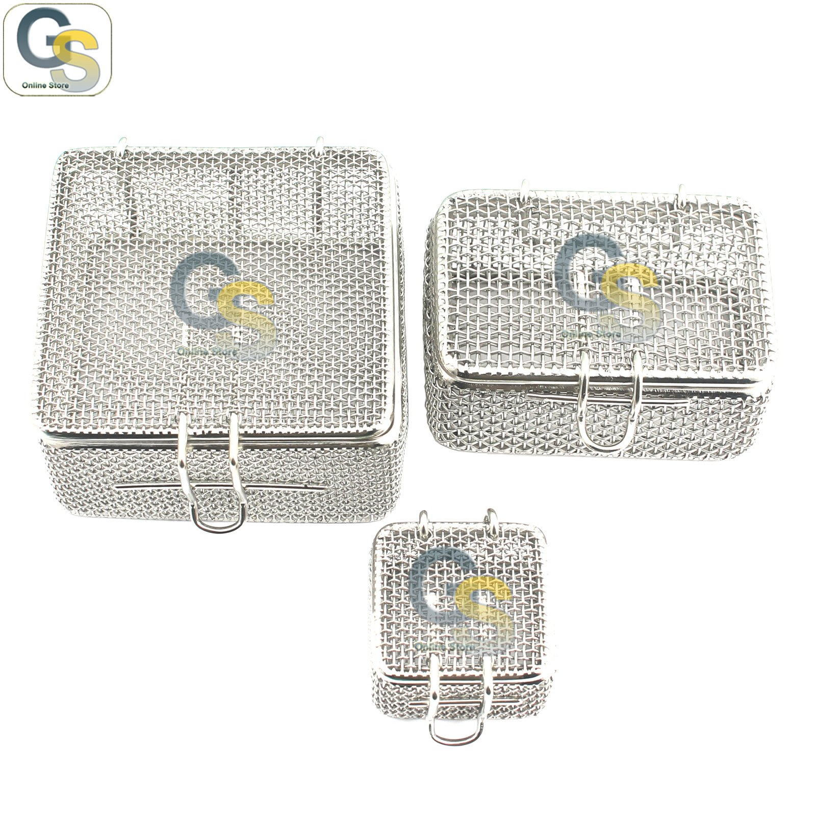 G.S SET OF 3 MICRO MESH TRAY PERFORATED MESH BOX DENTAL INSTRUMENTS,DN-374 BEST QUALITY