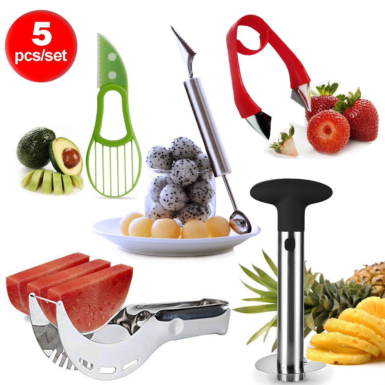 Lasten Fruit Slicer set of 5, Stainless Fruit Peeler Set - Pineapple Corer, Watermelon Slicer,Avocado Slicer, Carving Knife&Melon Baller Scoop and Strawberry Huller - Kitchen Cutter Gadgets Kit