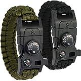 Leeva 8-in-1 Paracord Survival Armband mit Angelset, Multitool, Feuerstahl, Kompass, Minimesser, Signalpfeife, Thermometer