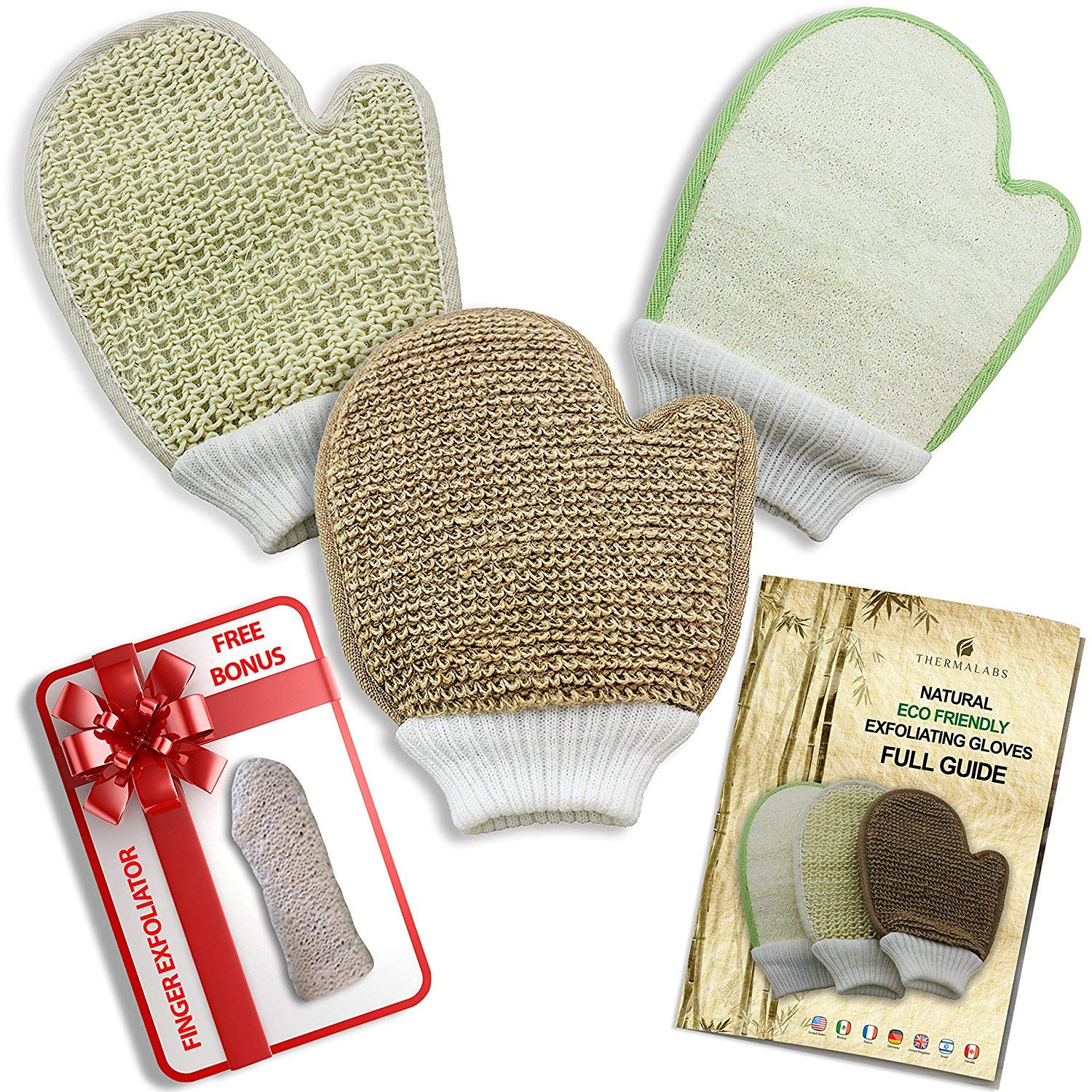 Natural Eco Friendly Body Scrub Exfoliator Gloves: Bamboo Fiber and Loofah, Jute and Sisal Mitts Thermalabs TRML-ECO-GLV