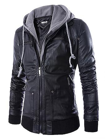 27fbe828b7e ZumZup Homme Veste de Moto à Capuche en Simili Cuir Blouson Motard  Imitation Cuir Zippé Imperméable