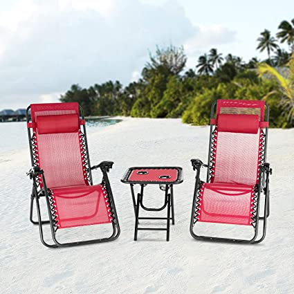 Astounding Mecor 3Pc Zero Gravity Lounge Chairs Beach Chairs Patio Chairs Adjustable Folding Recliner With Folding Table Outdoor Yard Beach Red Gmtry Best Dining Table And Chair Ideas Images Gmtryco