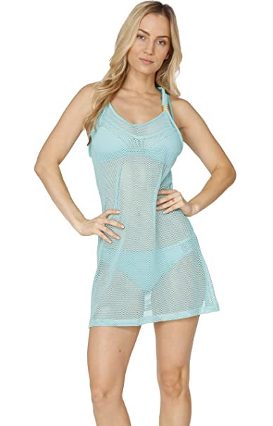 4347511955835 INGEAR Casual Mesh Racer Back Short Tank Beach Dress Swimwear Fashion Cover  Up (Small,