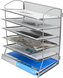 PAG 6-Tier Desktop File Organizer Document Folder Rack Metal Mesh Letter Tray Magazine Holder for Home Office School, Silver