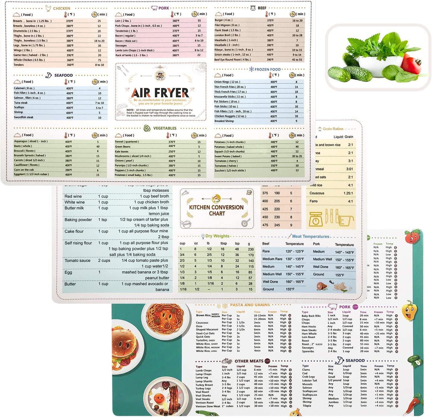 Air fryer Magnetic Cheat Sheets Cookbook