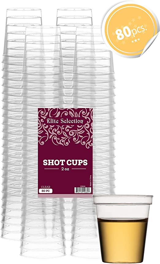 80PCS Plastic Clear Disposable Shot Glasses Tumbler Shooters Party Drinking Game
