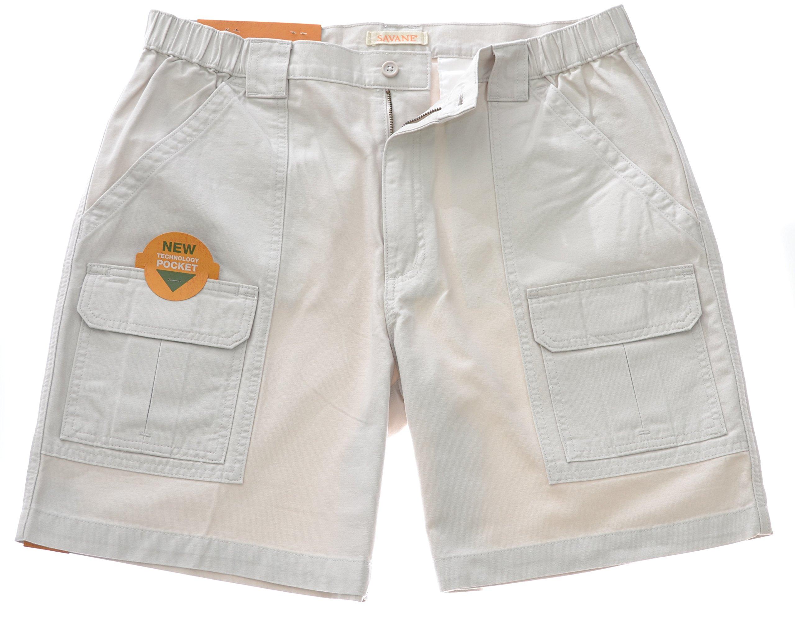 Savane Men's Comfort Hiking Cargo Shorts (32, Stone-16) by Savane
