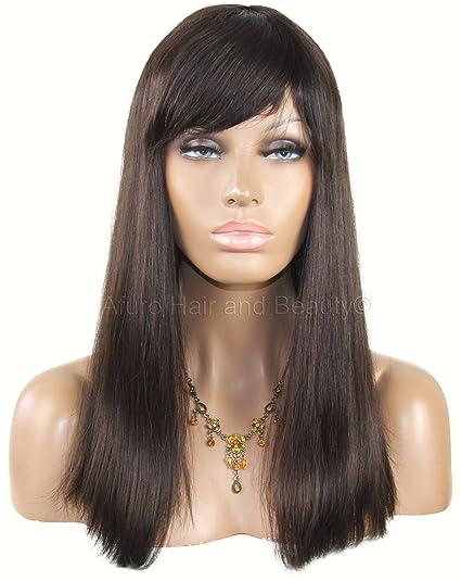 Peluca de mujer, realizada con cabello remy 100% natural, marrón,