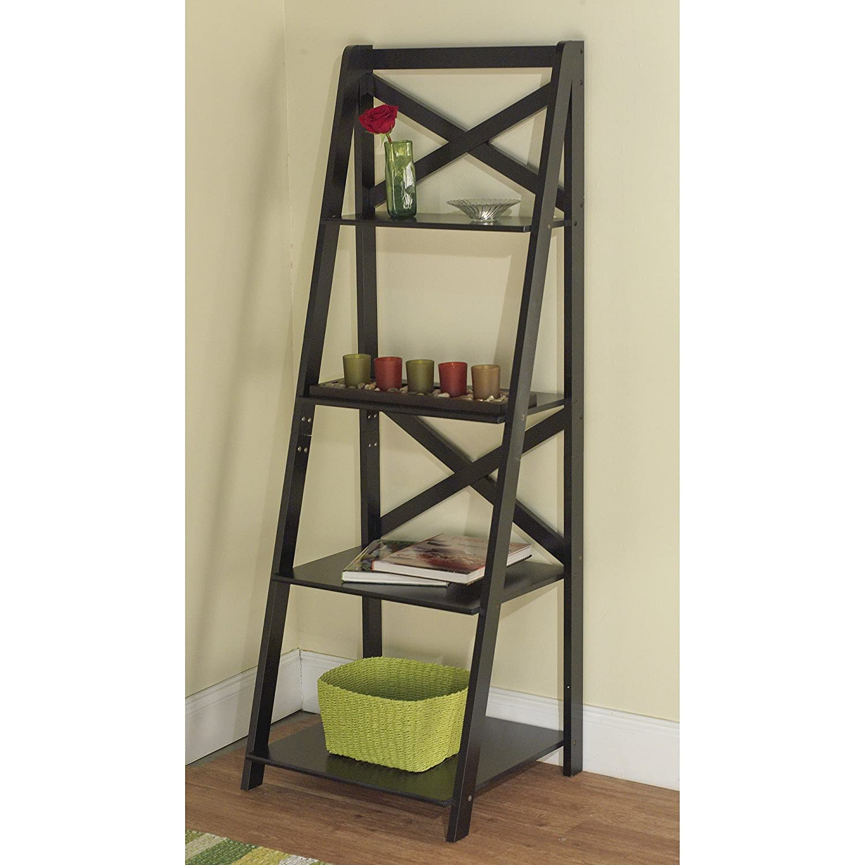 Metro Shop Black Wood X-back 4-tier Ladder Shelf-Black