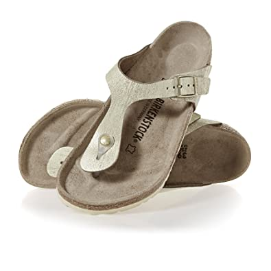 87362ecefaaf Birkenstock Women's Gizeh VL Washed Suede Leather -Standard Fitting Buckled  Toe Post Thong Style -