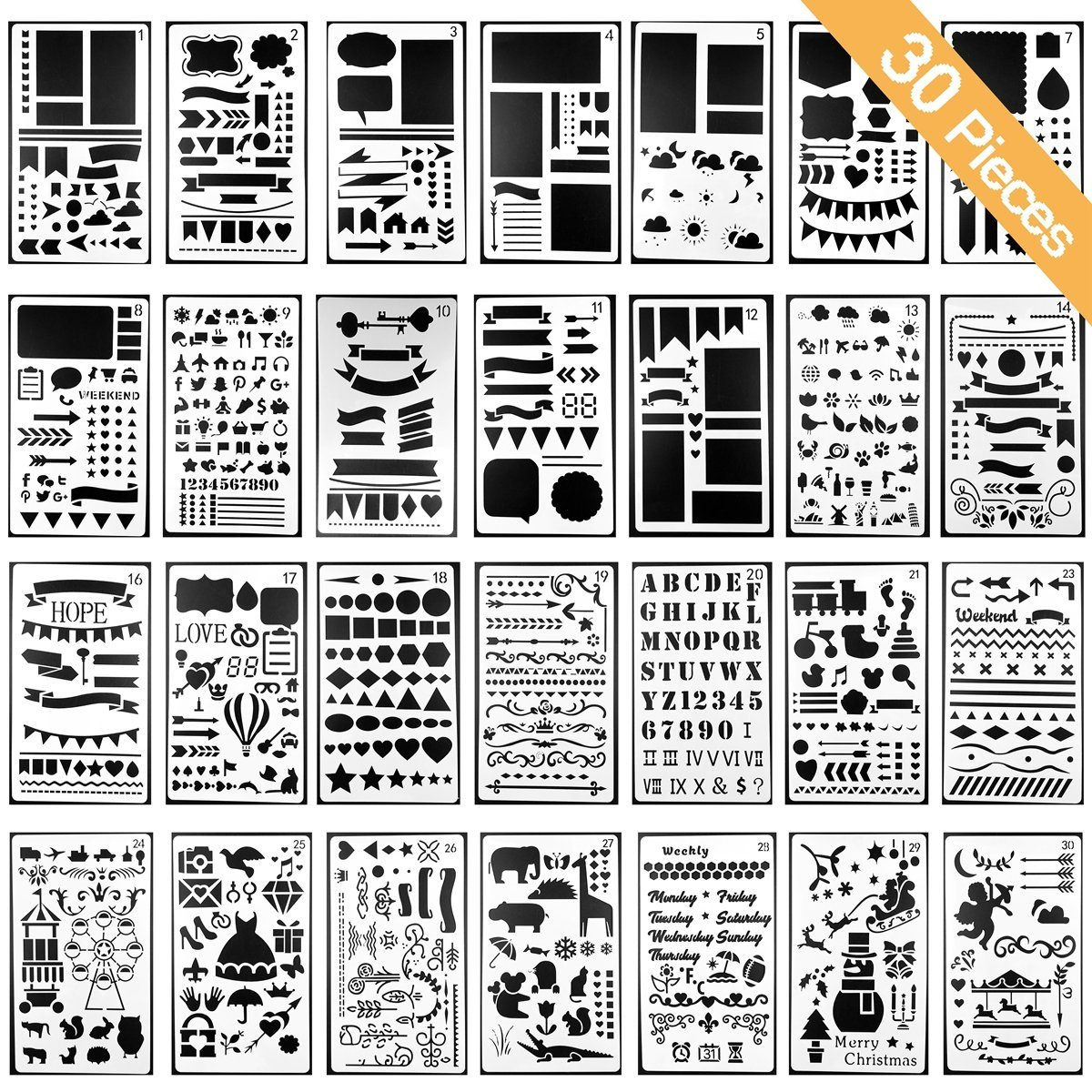 Stencils Template for DIY Scrapbooking Bullet Journaling Stencil Letters Notebook Diary Scrapbook Drawing Stamp Album Decor Embossing Paper Card School Stationery Supplies Hollow Out 30pcs 4x7inch eswala Stencils Scrapbooking