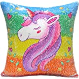 """URSKYTOUS Reversible Unicorn Sequin Pillow Case Decorative Mermaid Pillow Cover Color Changing Cushion Throw Pillowcase 16"""" x 16"""",Unicorn and Silver"""