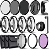 Neewer 49MM Lens Filter and Accessory Kit, Includes: UV CPL FLD Filters, Macro Close Up Filter Set(+1 +2 +4 +10), ND2…