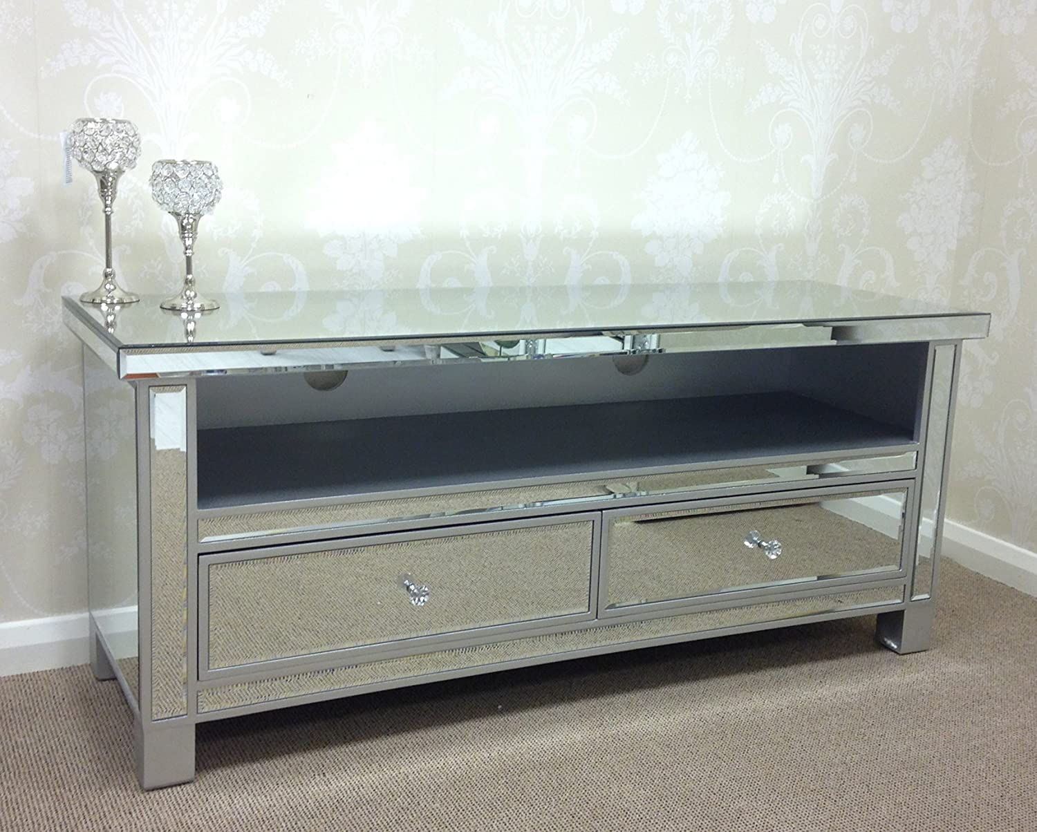 Large Silver Edged Venetian Mirrored Glass 2 Drawer Widescreen TV Stand Cabinet Amazoncouk Kitchen Home