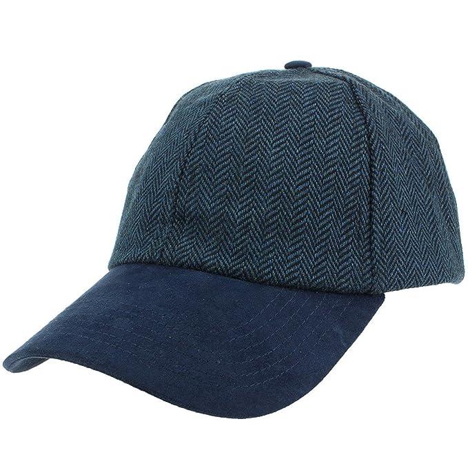 bf06010085e Hawkins Wool Tweed Herringbone Baseball Cap - Blue  Amazon.co.uk  Clothing