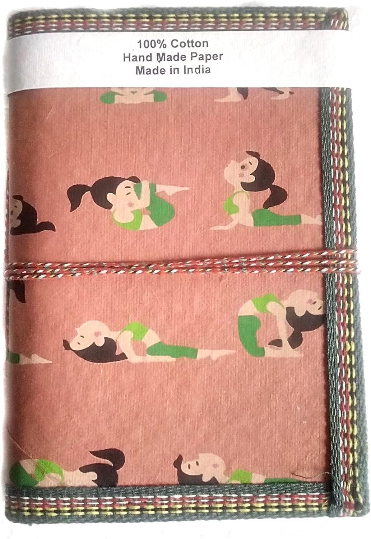 Regalo hecho a mano papel Yoga Impreso Niña Amarillo Elegante Diario en blanco diario planificador de bolsillo diario de regalo de Navidad para los hombres y las mujeres tradicionales