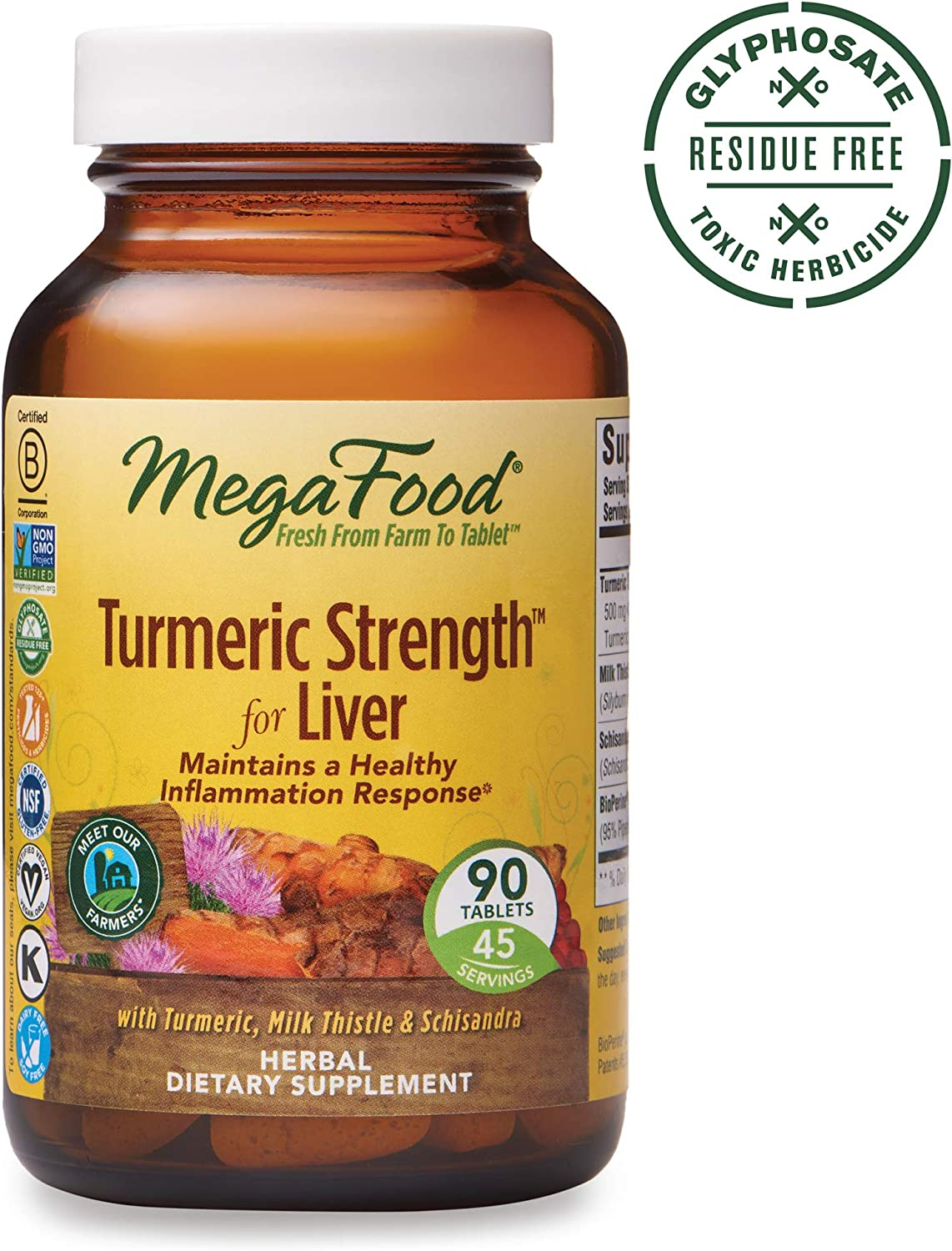 MegaFood, Turmeric Strength for Liver, Maintains a Healthy Inflammation Response, Vitamin and Herbal Dietary Supplement, Gluten Free, Vegan, 90 Tablets 45 Servings FFP