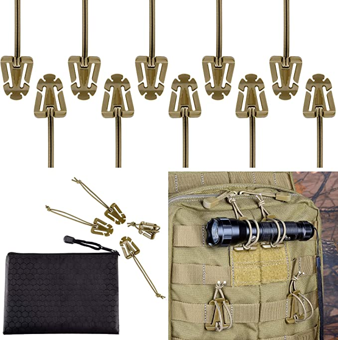 10 Pcs Army Green Tactical Gear Clip for Backpack /& Comms Gear with Zippered Bag