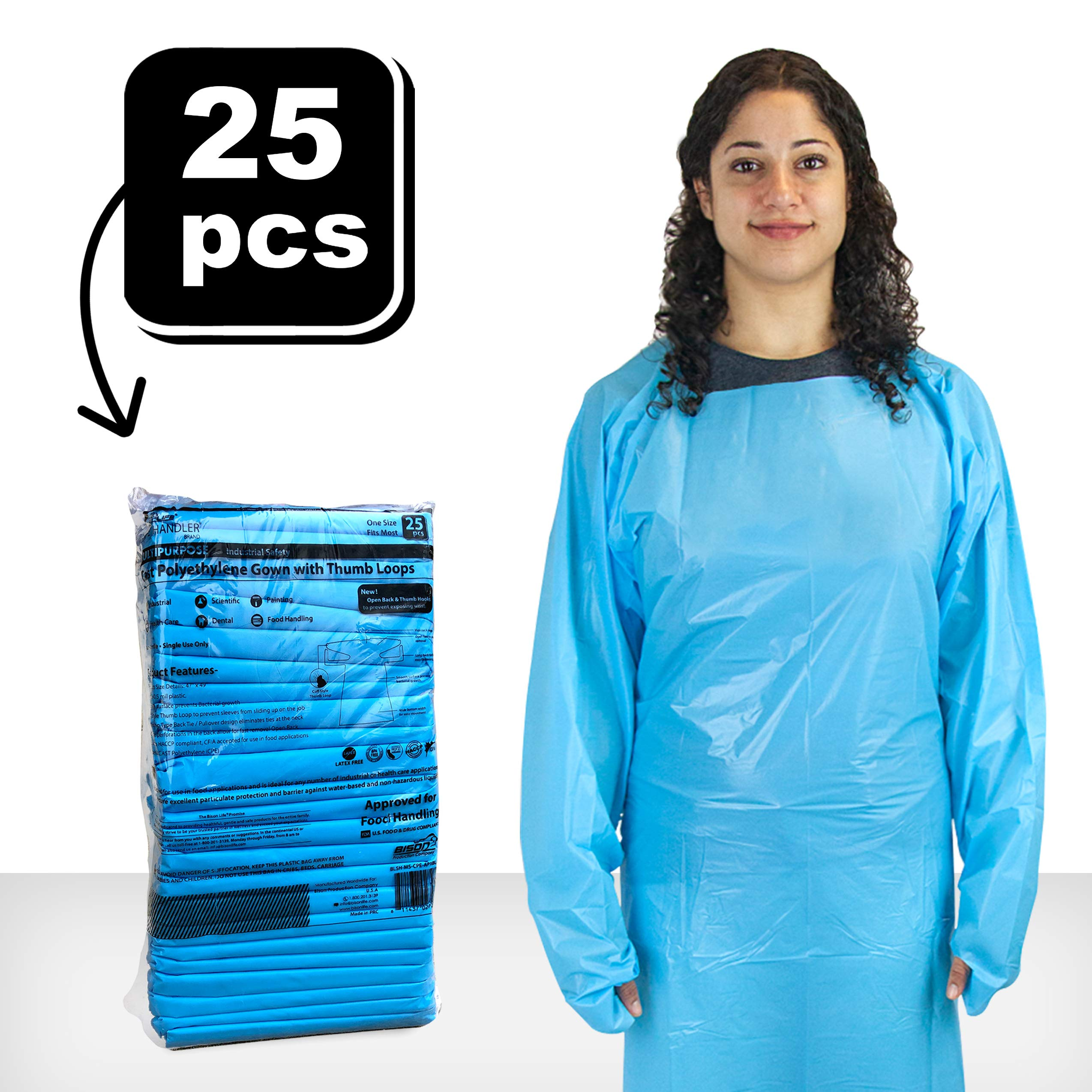 SAFE HANDLER Disposable Sleeve Gown | Open Back with Thumb Loops, 0.5 MIL, Blue, 25 Count