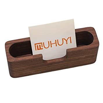 Wood Business Card Holder Brown Business Card Holder for Desk Business Card Display Wooden Name Card Stand Office Business Card Holders Office Supplies Table Organizer