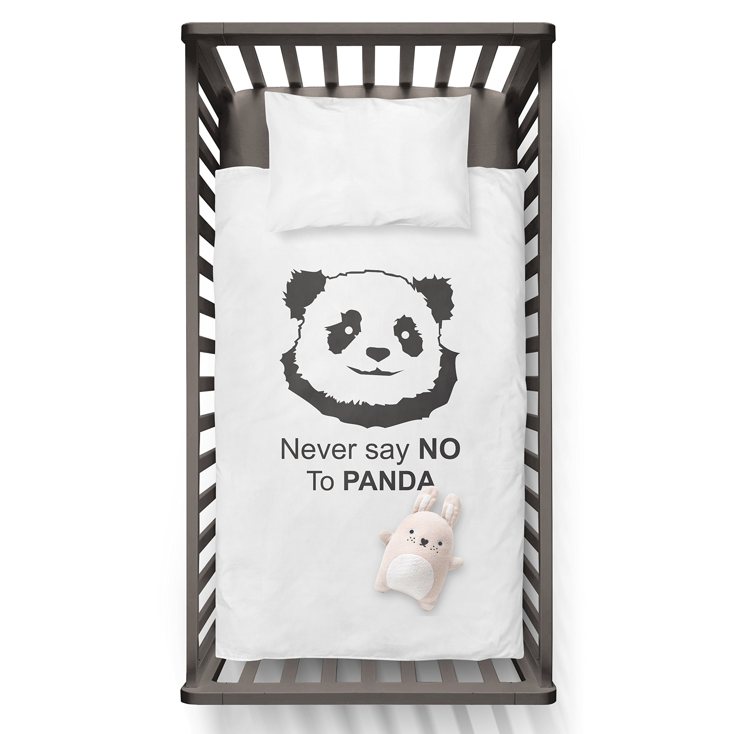 Never say NO to PANDA Funny Humor Hip Baby Duvet /Pillow set,Toddler Duvet,Oeko-Tex,Personalized duvet and pillow,Oraganic,gift