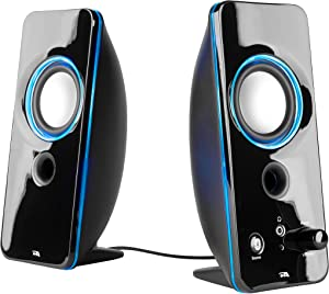 Cyber Acoustics 2.0 Color Changing Desktop Speaker System with Bluetooth Home Audio for Laptop, PC Computer, Tablet, and Smartphones (CA-SP29BT)