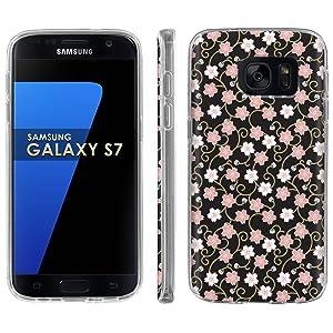 Samsung Galaxy [S7] Phone Case [ArmorXtreme] [Clear] Designer Image [Flexi Gel TPU] - [Pink Flower ] for Samsung Galaxy S7 / GS7