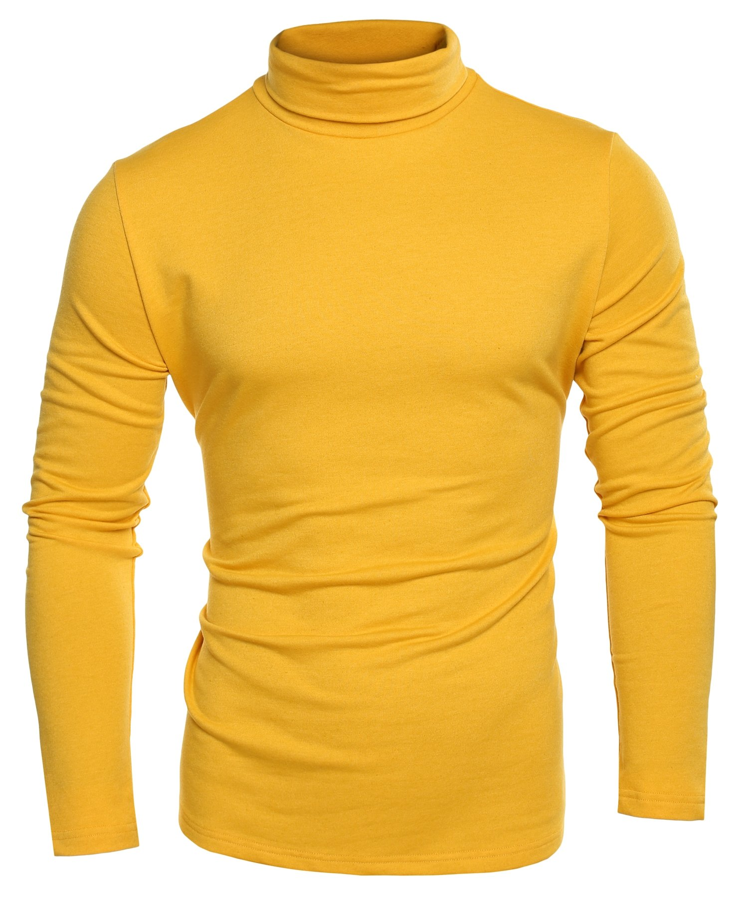 Coofandy Mens Casual Basic Thermal Turtleneck Slim Fit Pullover Thermal Sweaters, Yellow, XXX-Large