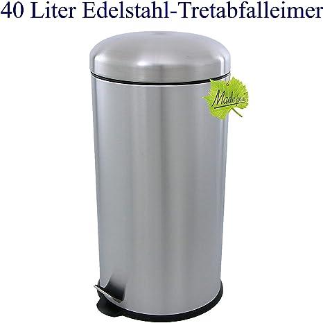 Cubo de basura de acero inoxidable mate, 40 l: Amazon.es: Hogar