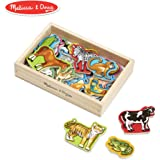 "Melissa & Doug Wooden Animal Magnets (Developmental Toys, Wooden Storage Case, 20 Animal-Inspired Magnets, 8"" H x 5.5"" W x 2"")"