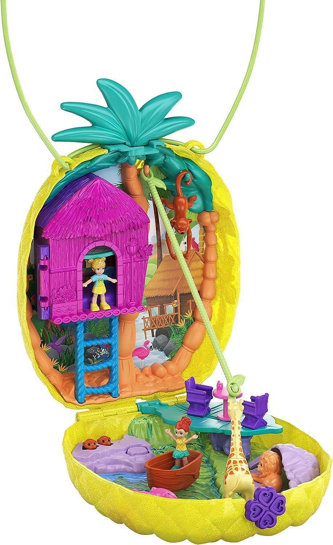 Polly Pocket Cofre Colgante Polly con Lila en forma de piña, muñeca con accesorios (Mattel GKJ64)