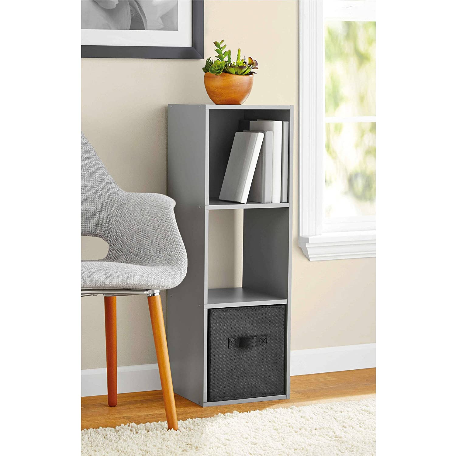 Sturdy Mainstays 3-Cube Organizer in Grey Finish for Living Room