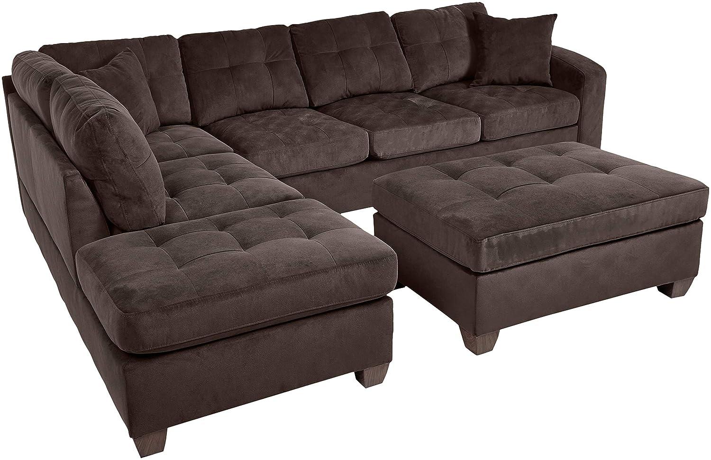 Homelegance Emilio Fabric Sectional Sofa and Ottoman Set, Chocolate