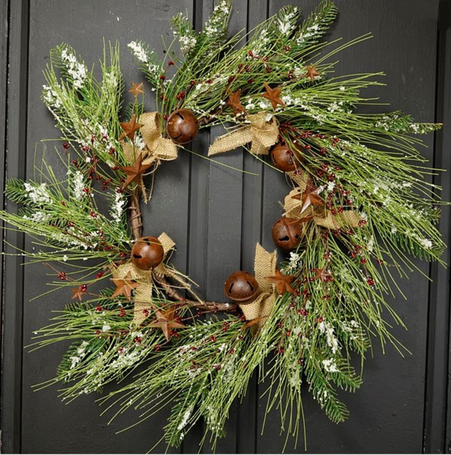 Christmas Long and Short Needle Pine Snow Tipped Wreath with Red Rice Berries, Burlap Ribbon, Rusty Stars and Large Jingle BellsRed Berry, and Burlap
