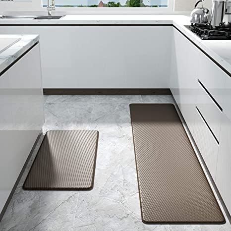 Color/&Geometry Kitchen Rug Non Skid Waterproof Kitchen Mats Cushioned Anti Fatigue Standing Mat 30X18+59X18 Rust Red